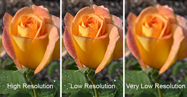 Example showing high resolution and low resolution images