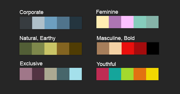 Diagram of sample color palettes and their meanings